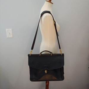 Vintage Coach Black Leather Computer Bag Briefcase